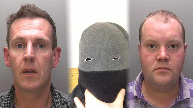 L-R: John Skate, who left an image of him in a mask for the robbery on his phone, and the manager of the shop, Christopher Usher. Photos: Lincolnshire Police