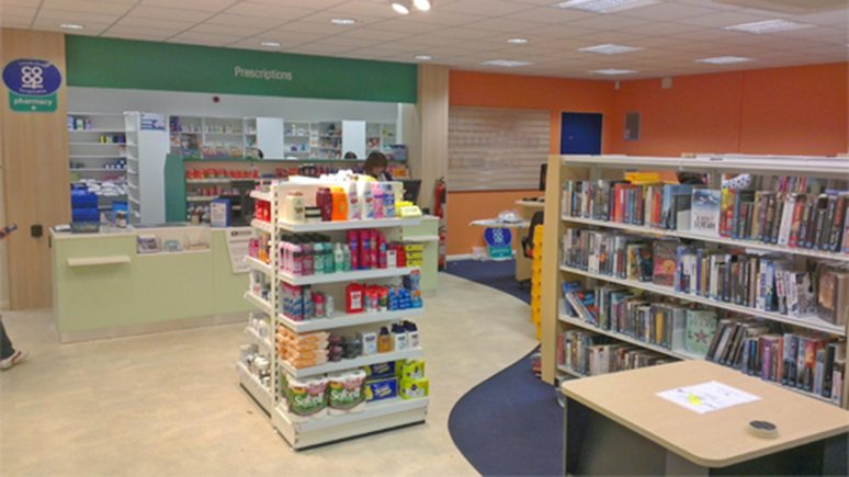 Lincolnshire Co-op offered to save six of the 30 libraries  set to close and turn them into local amenities with the help of volunteers. Pictured, the Co-op library-pharmacy pilot in Waddington, near Lincoln.