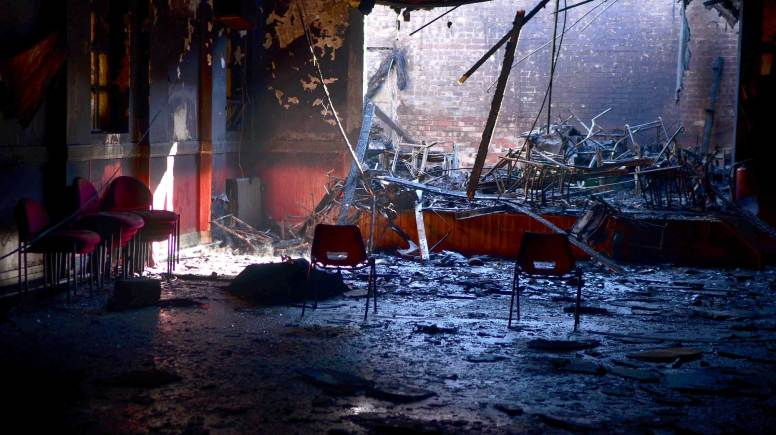 Interior fire damage at the Croft Street community centre in Lincoln. Photo: Steve Smailes for The Lincolnite