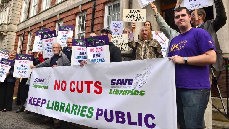 Protestors stand outside Lincolnshire County Council where they handed a petition on September 13.. Photo: Steve Smailes for The Lincolnite