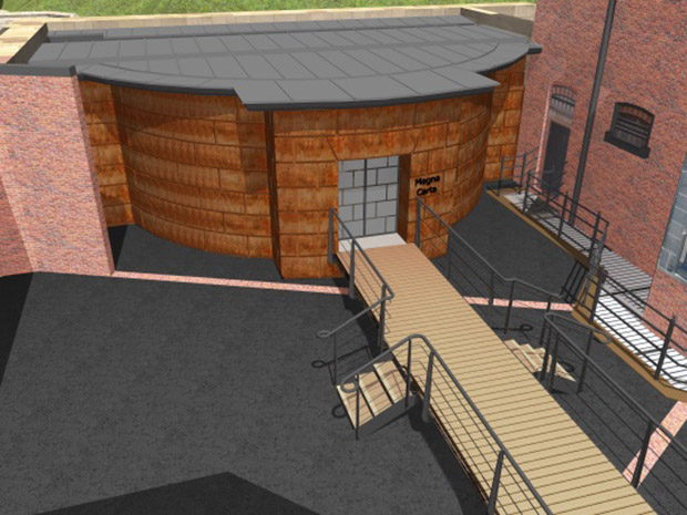 3D rendering of the work planned for the prison at Lincoln Castle for the Magna Carta vault