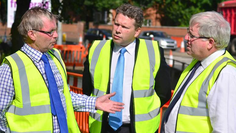 County Council Leader Martin Hill visits the Brant Road and Newark Road works with Lincoln MP Karl McCartney and Transport Minister Patrick McLoughlin in July 2013.