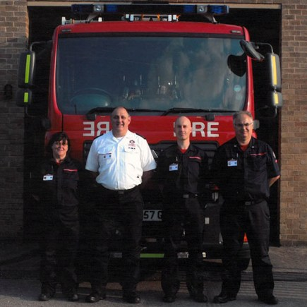 The Waddington Fire Station crew (L-R): Lisa Rhodes, Mark Jones, Tony Lowe and Tim Lane. Photo: Lincolnshire County Council