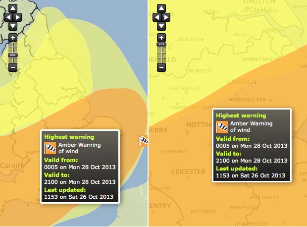 Amber weather warning for Lincolnshire on October 28. Illustration: Met Office