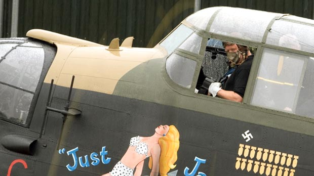 Mike Chatterton in the Cockpit of 'Just Jane' at East Kirkby.