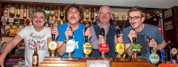 Movember efforts from Pete, Jay, Chris and Lea, from the Dog and Bone pub in Lincoln