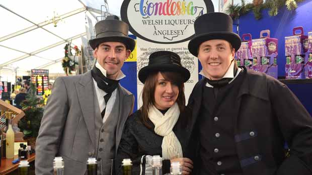 The Condessa Welsh Liqueurs team are easy to spot and dressed to impress at this year's Christmas Market. Photo: Emily Norton