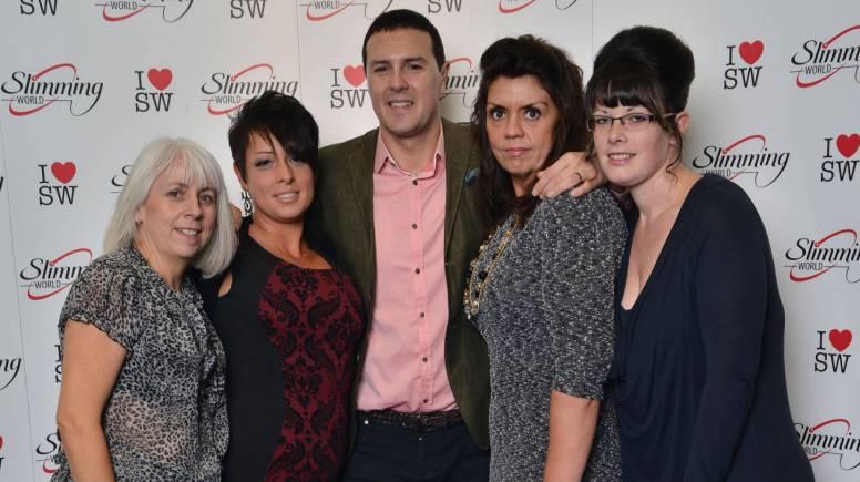 Slimming World Consultants meet Paddy McGuinness. L-R: Alexandra Gills, Maria Walmsley, Alison Merrill and Selina Hall. Photo: Slimming World