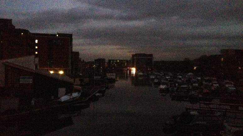 Brayford Pool, plunged into darkness. Photo: Chris Brandrick