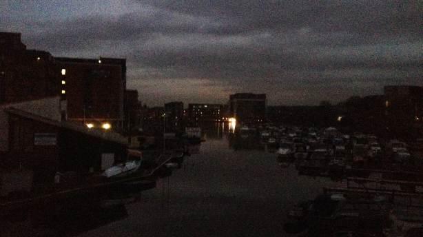 Brayford Pool, plunged into darkness. Photo: Chris Brandrick