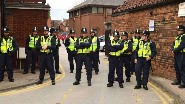 Police officers from across the region were present at the June 2013 anti-mosque protest in Lincoln. Photo: Steve Smailes for The Lincolnite