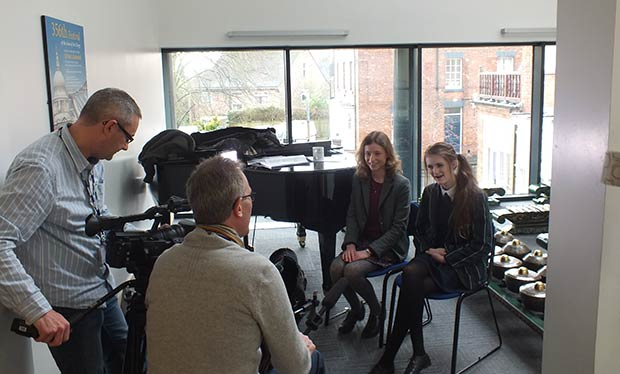 Interviewing Choir members Anya and Ffion.