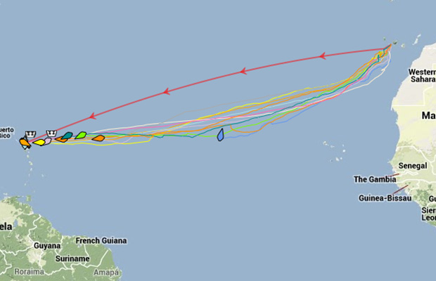 Here's how their 3,000 nautical mile journey looked. 2 Boys in a Boat in grey.