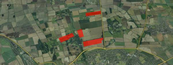 Four plots of land at the edge of Lincoln would be used for a 36MW solar farm. Map data: Google
