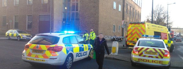 Police at the scene of the incident at Broadgate car park.