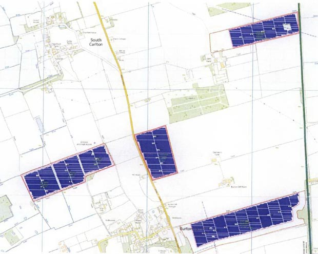 The plots of land near Lincoln to be used for the solar farm.
