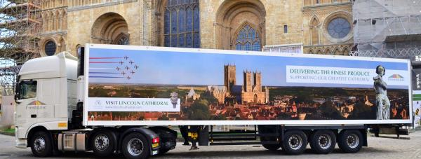New FreshLinc lorry will raise awareness of the Lincoln Cathedral restoration on its journey across the UK. Photo: Steve Smailes for The Lincolnite