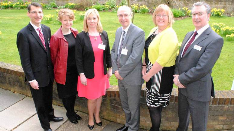 L-R: Murray Macdonald, of Boston Mayflower, Sarah Jane-Mills from St Barnabas Hospice, Michele Seddon of Age UK Lincoln, Nick Chambers from Lace Housing, Trixie Bennett of Adults Supporting Adults and Mick King from Lincs Home Improvement Partnership, which form the LILP. Photo: Shooting Star