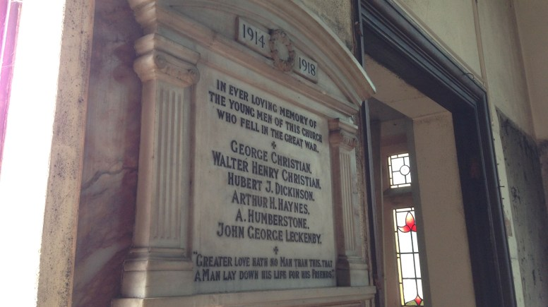 A plaque commemorating individuals from the First World War. Photo: Jackson & Jackson