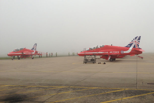 The Reds taxiing at RAF Scampton before leaving to Cyprus.