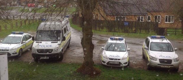 Police OSU van, Galileo 4x4 and other officers in Horncastle before they headed out to Revesby for the search. Photo: Nerys McGarry / Lincolnshire Police