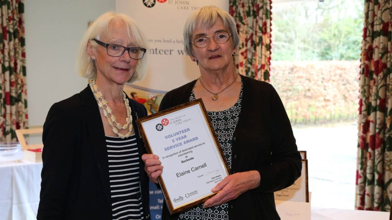 Elaine Carnell from Beckside in Lincoln was awarded for her 5 years of service. Photo: Phil Crow