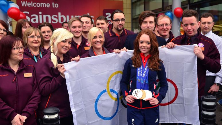 Jade got a great reception at the Lincoln Sainsbury's. Staff greeted her with gifts and banners. Photo: Steve Smailes for The Lincolnite