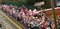 Children and staff from St Faith and St Martins school waved to Jade as she passed by on her tour bus. Photo: Steve Smailes for The Lincolnite