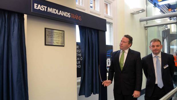 Karl McCartney unveiled a new plaque for the revamped Lincoln train station in April 2014.
