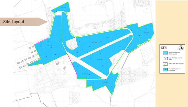 The farm will be erected on the 150 hectare RAF site.