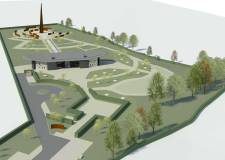Aerial view of the Lincoln Bomber Command Memorial, with the spire and interpretation centre.