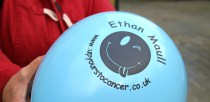 The balloons were decorated with the Ethan Maull 'Up Yours TO Cancer' logo. Photo: Emily Norton