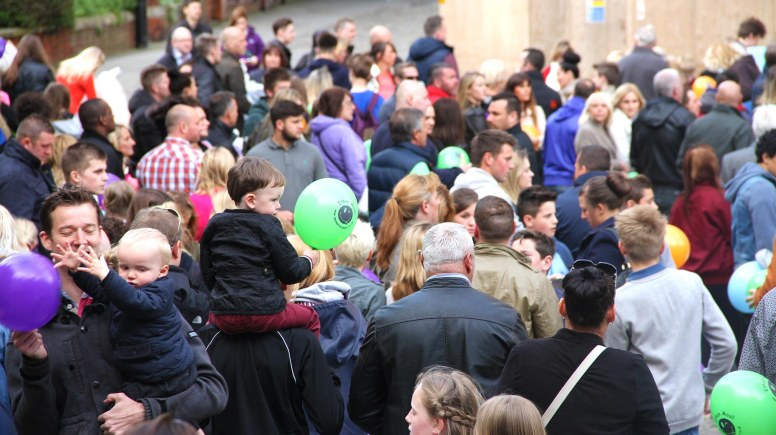 Hundreds of people gathered at Lincoln Cathedral to set free balloons in memory of Ethan Maull. Photo: Emily Norton
