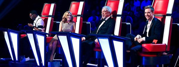 L-R: The Voice UK's judging panel, Will.i.am, Kylie Minogue, Sir Tom Jones and Danny O'Donoghue. Photo: BBC