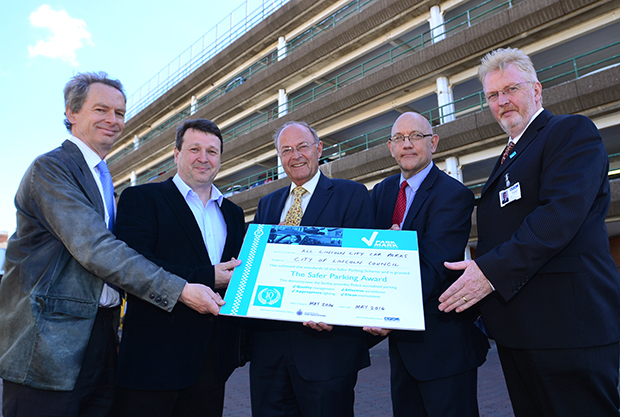 L-R: Team Leader Rod Williamson, Cllr Neil Murray, Lincolnshire PCC Alan Hardwick, Force Crime Prevention Advisor John Manual and Peter Gravells, Area Manager for the British Parking Association. Photo: Steve Smailes for The Lincolnite