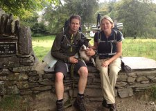 Marc and Phillippa Strowger with their rescue staffie Snoop.