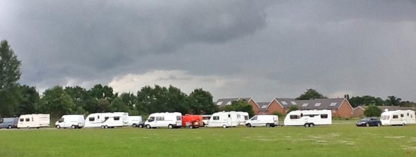 The caravans camped without authorisation behind the Birchwood Leisure Centre in Lincoln leaving on June 29. Photo: Lynne Mott