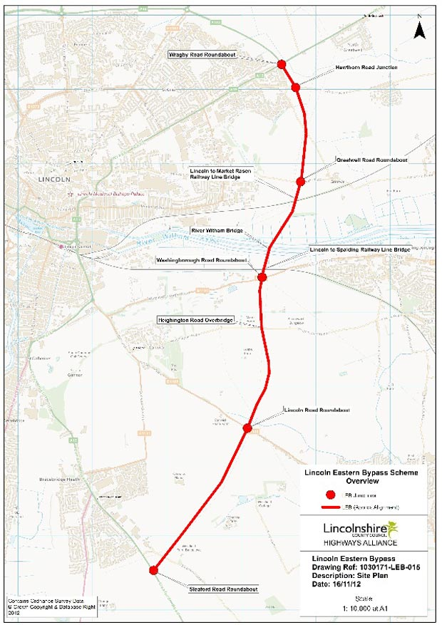 The site plan for the Lincoln Eastern Bypass