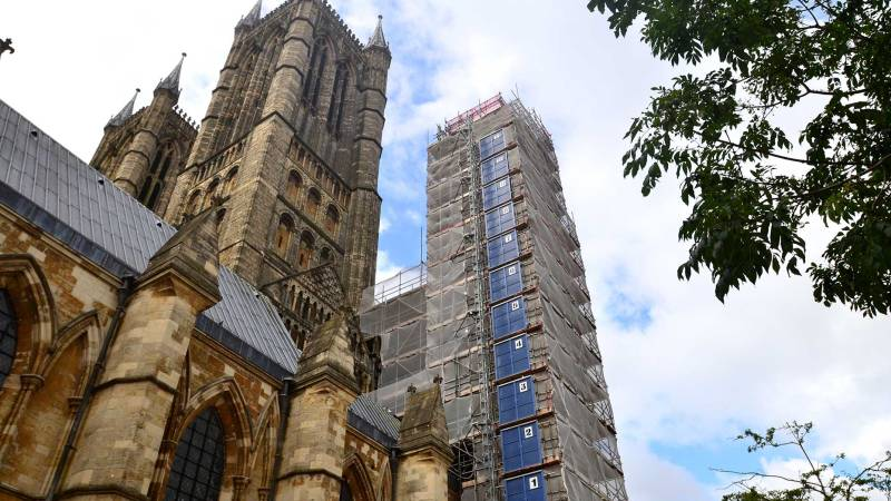 Works on the North West Tower. Photo: Steve Smailes for The Lincolnite