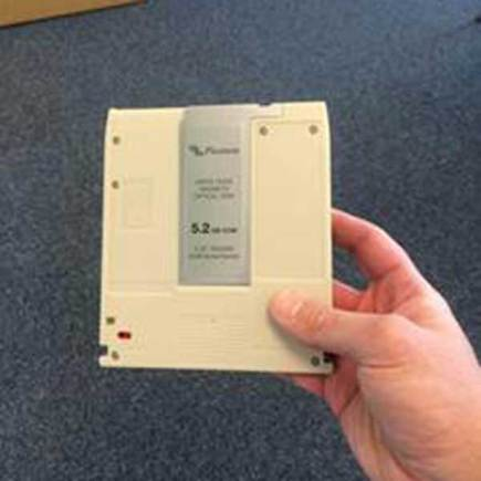 An example of the data disc missing from the premises. Photo: EMAS