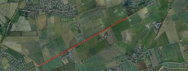 The stretch of A158 closed off due to the gas leak.