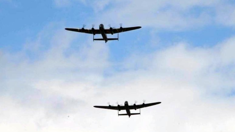 The two Lancasters together. Photo: Canadian Warplane Heritage Museum