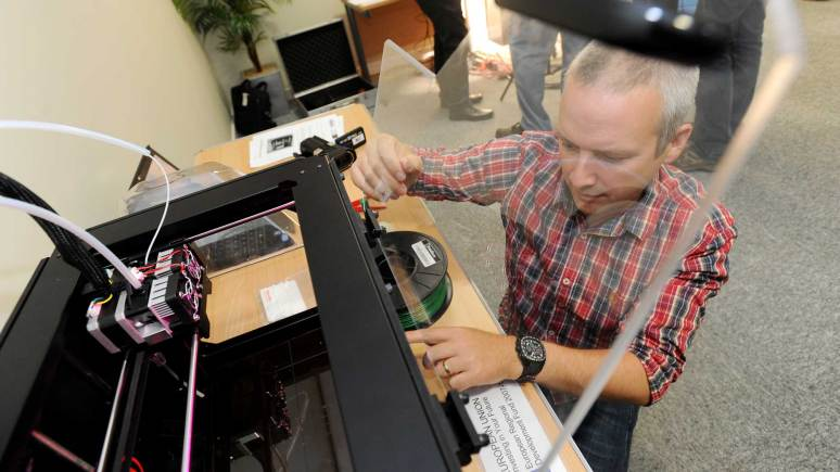 Testing a 3D printer available at the Lincolnshire Technology Hubs.