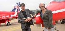 Jason Bradbury and Brian Cox at the STEM day at RAF Scampton. Photo: Steve Smailes for The Lincolnite