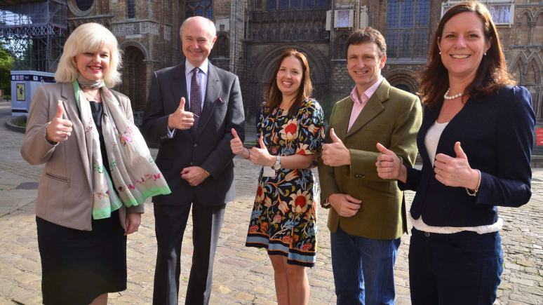 (L-R) Andrea Green from Lincoln Cathedral, Paul Robinson from Lincoln Cathedral, Claire Thompson from the City of Lincoln Council, Mark Hollingworth, Chair of Visit Lincoln and Emma Tatlow, the Visit Lincoln Manager. Photo: Steve Smailes for The Lincolnite