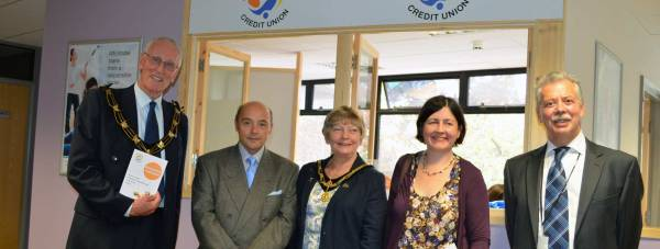 Mayor of Lincoln Brent Charlesworth, Councillor  Kath Brothwell, Councillor Rosanne Kirk and Lincolnshire Credit Union chief executive John Eames.
