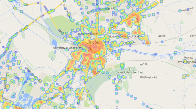 Map Of Uk 3g Coverage.App Marks Lincoln Mobile Coverage Hot And Not Spots