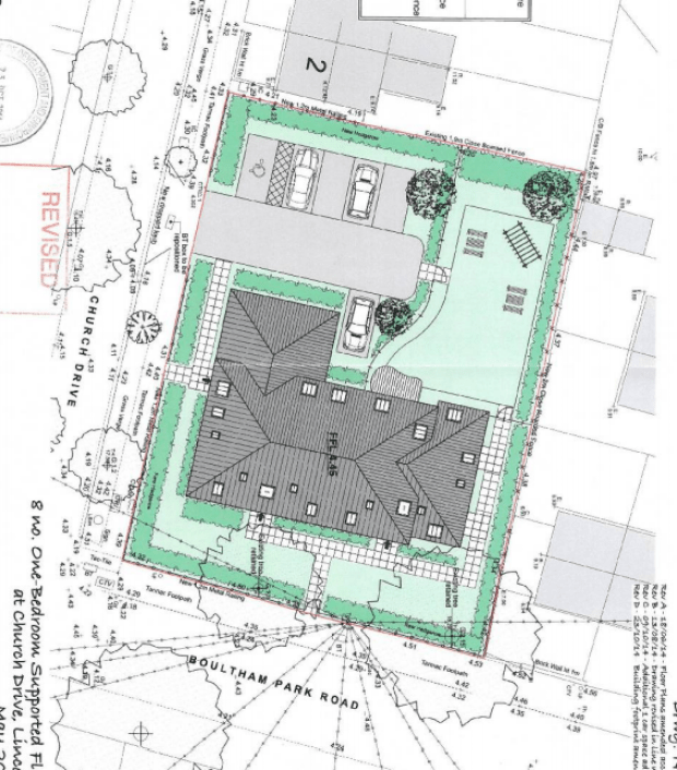 Plans for the two and three storey building, which would include eight one bedroom supported flats and a ground floor office.