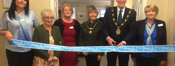 Sarah Houtby from Bupa, resident Marjorie Whatmaugh, Tracy Johnston, Manager of Altham Court, Mayoress of Lincoln Kath Brothwell, Mayor of Lincoln, Brent Charlesworth and Vilma Storey from Bupa.