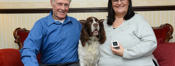 Allan and Pat Bell with their keen sniffer dog Rosie and the diamond. Photo: Shackleton PR